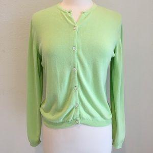 Lilly Pulitzer bright green cardigan sweater Sz. S